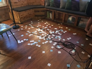 The pieces of paper that courtney marie read from during the poetry reading at The Wild Detectives. (Photo by Sara Magalio)