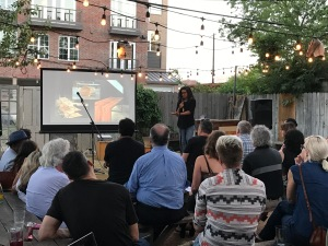 Evelyn Henshaw presents at the Design Society's PechaKucha Night host by The Wild Detectives. (Photo by Sara Magalio)
